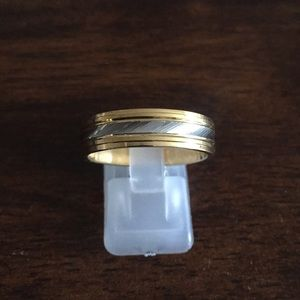 Jewelry - Gold over stainless steel two tone ring size 10